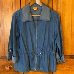 Ruby Red Cotton/Tensel Zippered Denim Look NWOT
